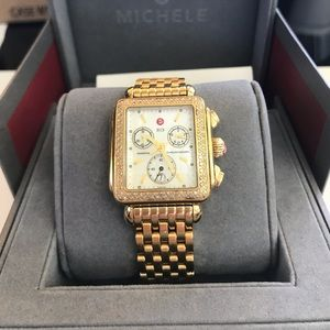 Michele Deco Gold Diamond Watch - with Box